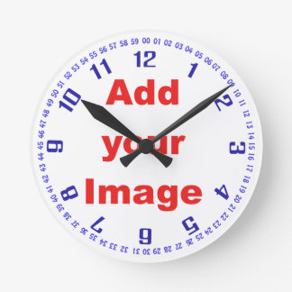 Clock template - Numbers seconds blue- Add Image