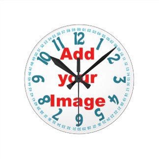 Clock template - Open face blue - Add Image