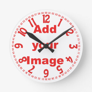 Clock template - Open face Red - Add your Image