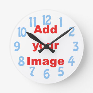 Clock template - Seconds markers blue - Add Image