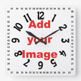 Clock template - Square numbered - Add your Image