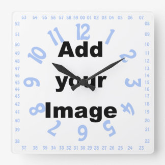Clock template - Square numbered blue  - Add Image