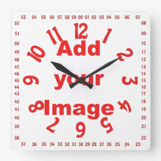 Clock template - Square numbered Red - Add Image