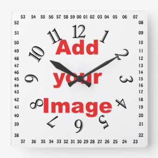 Clock template - Square & numbers - Add your Image