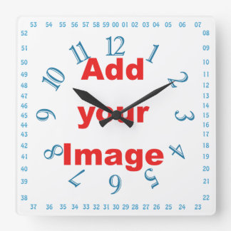 Clock template - Square numbers blue - Add Image