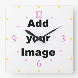 Clock template - Square numbers pastel Add Image
