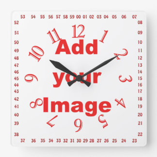 Clock template - Square numbers Red - Add Image