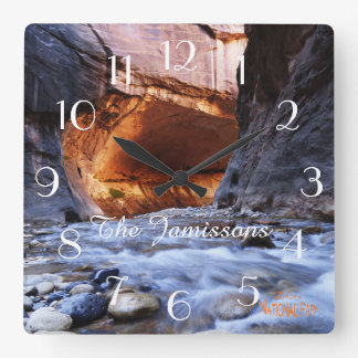 Clock, The Narrows Zion National Park Personalized Square Wallclock