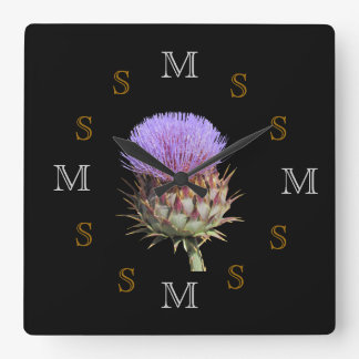 Clock - Thistle and Intials