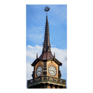 Clock tower and ship weather vane poster
