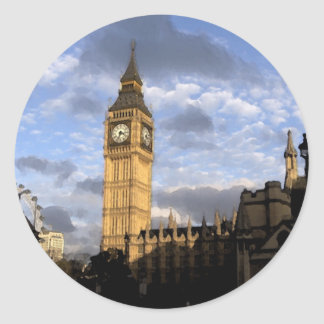 Clock Tower Classic Round Sticker