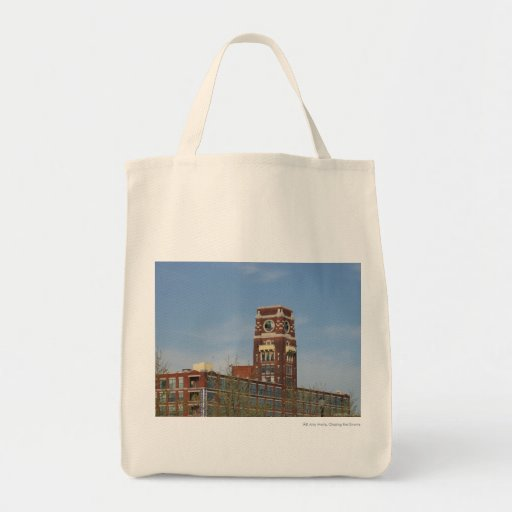 Clock tower grocery tote bag