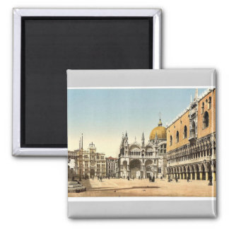 Clock tower, St. Mark's, and Doges' Palace, Piazze 2 Inch Square Magnet