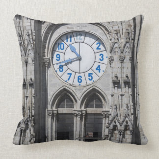 Clock towers at the National Basilica, Ecuador Throw Pillow