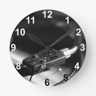 Clock: Vinyl Record on a Turntable. Vintage Theme Round Clock
