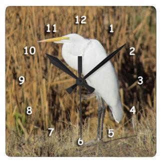 Clock - White Heron