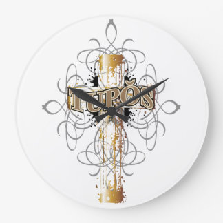 Clock with a Dripping Gold Cross with Tupos