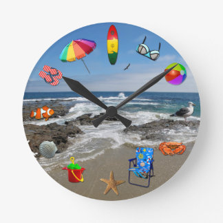Clock with beach, ocean surrounded by beach items