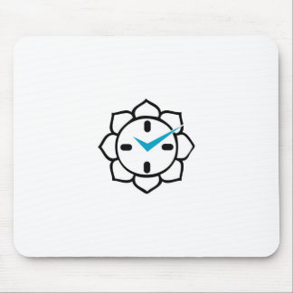 Clock with Buddhist lotus Mouse Pad
