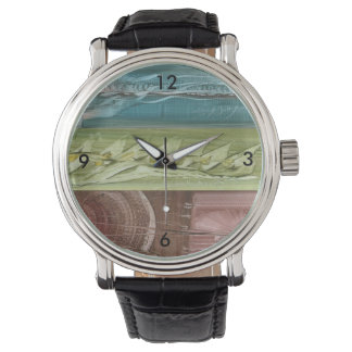 Clock with colored modern art wristwatch