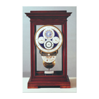 Clock with four dials and the signs of the canvas print
