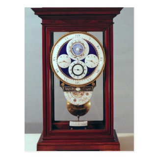 Clock with four dials and the signs of the postcard