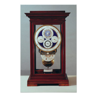 Clock with four dials and the signs of the poster