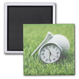 Clock with golf ball and tee it is time for golf magnet