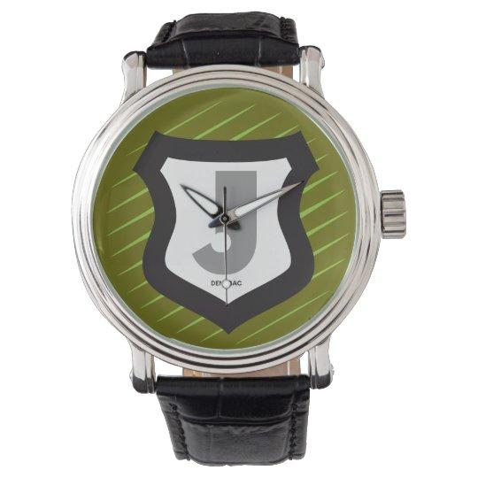 Clock with Initial Shield Emblem Trims off lower b Wrist Watch