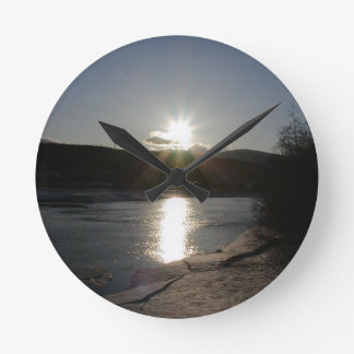 clock with photo of Yukon River