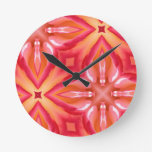 Clock with Pink Abstract Pattern of Rose