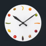 """Clock with vegetables and fruits<br><div class=""""desc"""">This colorful clock is enrichment for every kitchen on. Incoming goods of acres vegetarians because all creatures have A right ton live…. and incoming goods eat thus NO humans. Enjoy,  Miriam and Martin</div>"""