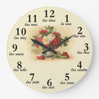 Clock with vintage image and numbers in Spanish