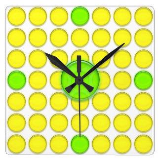 Clock - Yellow and Green dots