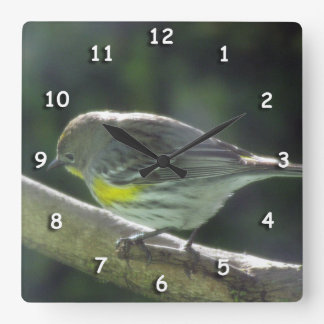 Clock - Yellow Feathers