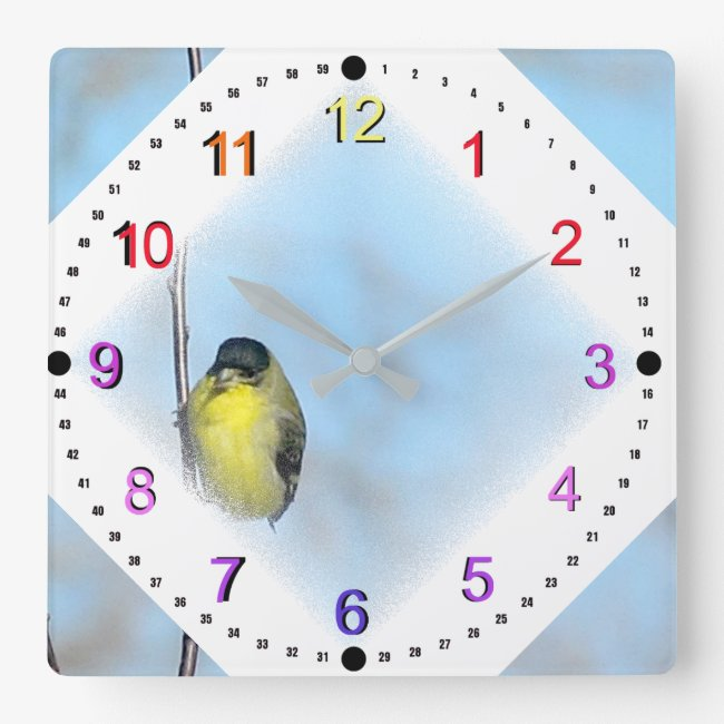 Clock - Yellow Finch in Diamond Vignette