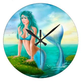 Clocks Fantasy beautiful young woman mermaid