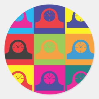 Clocks Pop Art Round Stickers