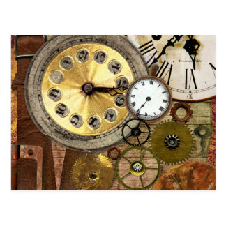 Clocks Rusty Old Steampunk Art Postcard