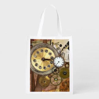 Clocks Rusty Old Steampunk Art Reusable Grocery Bag