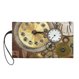 Clocks Rusty Old Steampunk Art Wristlet