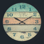 """Clocks Shabby Beach Boards Rustic Decorative Wood<br><div class=""""desc"""">Clocks - Vintage Shabby Beach Boards Rustic Decorative Wood Round Wall Clock. Features an old painted driftwood print (print only - not real wood) with scratched numbers. Ocean colors, weathered beachy boards design, old paint boards printed Image, rustic Mediterranean style wooden decorative round wall clock. Perfect for decorating your home,...</div>"""