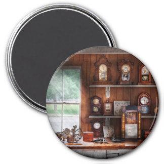 Clocksmith - In the Clock Repair Shop 3 Inch Round Magnet