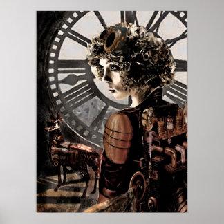 clocktower del steampunk póster