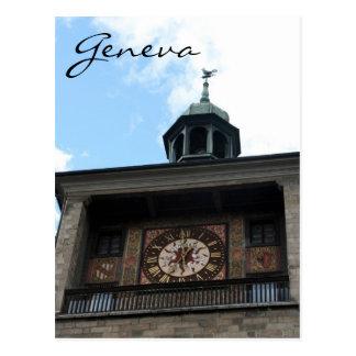 clocktower geneva postcard