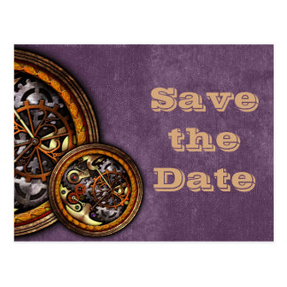 Clockwork and Leather save the date Post Card
