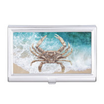 Clockwork Crab on Blue - Business Card Holder