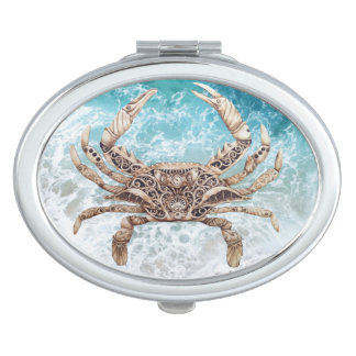 Clockwork Crab on Blue Compact Mirror