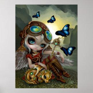 Clockwork Dragonling steampunk dragon fairy art Poster