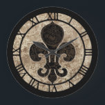 """Clockwork Fleur De Lis Large Clock<br><div class=""""desc"""">This clock is adorned with a fleur de lis motif with a pattern of clockwork and gears</div>"""